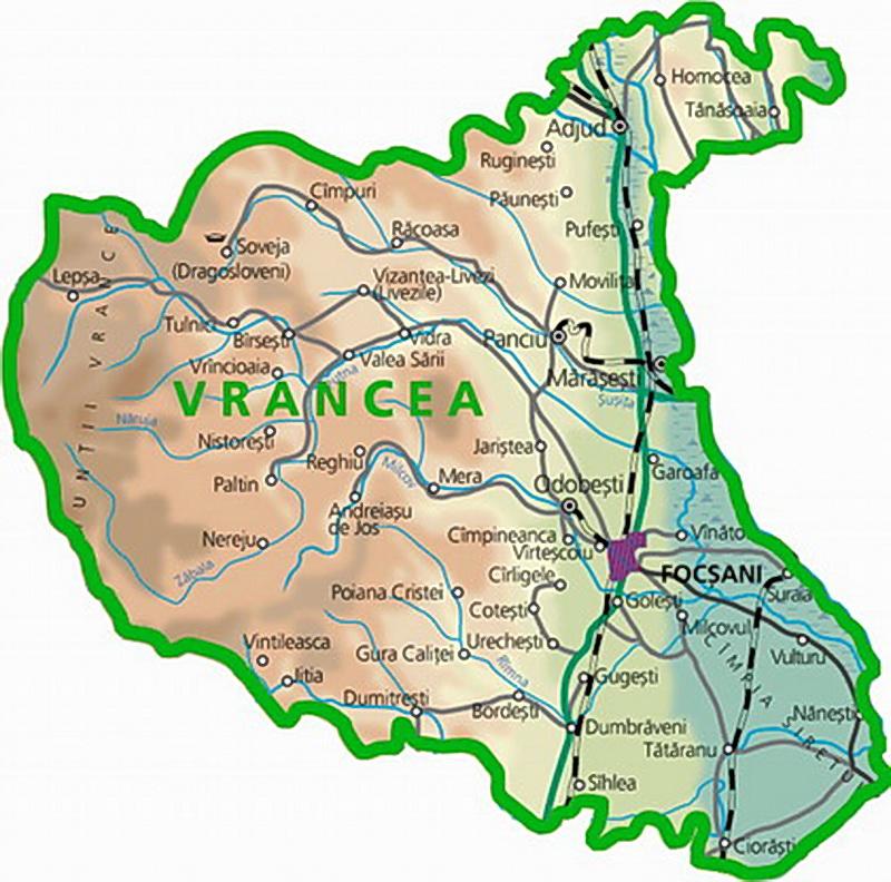 Harta Fizica Turistica A Judetului Vrancea